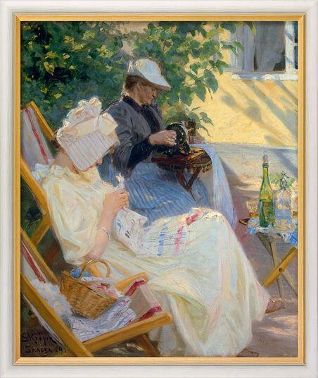 """Peder Severin Kroyer: Bild """"Zwei Frauen im Garten (In der Laube)"""" (1892), gerahmt"""