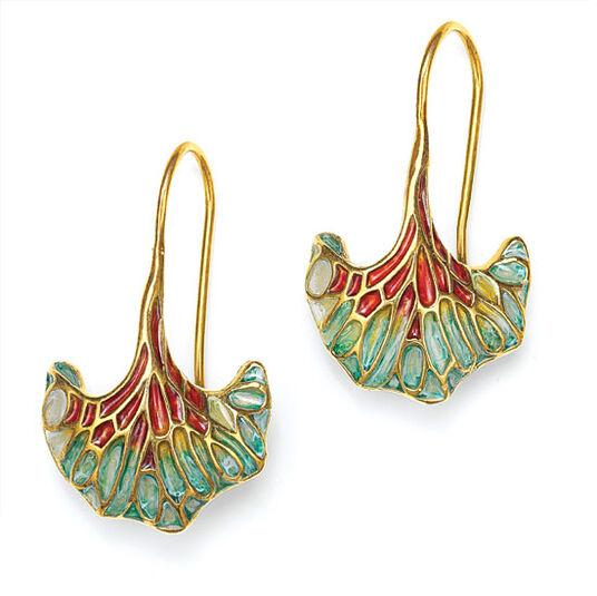"""Earrings """"Ginkgo"""" - after Louis C. Tiffany"""