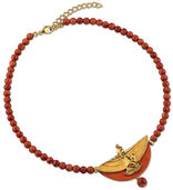 Necklace 'The Wings of Isis' with red cultured coral beads