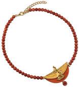 """Collier """"Isisschwinge"""" mit roten Zuchtkorallen-Perlen"""