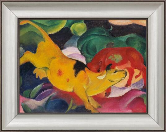 "Franz Marc: Bild ""Kühe gelb-rot-grün"" (1912), gerahmt"