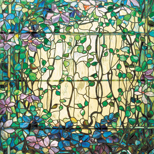 Louis C. Tiffany: 'Stained Glass with Clematis'
