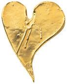 """Bronzeobjekt """"Herz mit Tränen"""", vergoldet"""