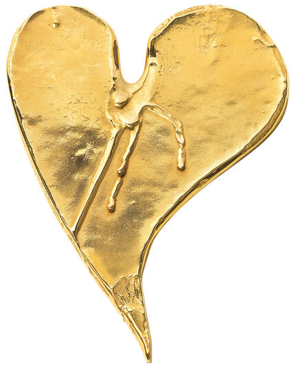 """Bruno Bruni: Bronzeobjekt """"Herz mit Tränen"""", vergoldet"""