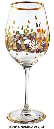 "Friedensreich Hundertwasser: (PM XIX/2) Weinglas ""BEAUTY IS A PANACEA - Gold - Rotwein"""