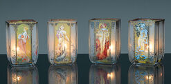 "Art Nouveau tea candles ""Four seasons"", glass"