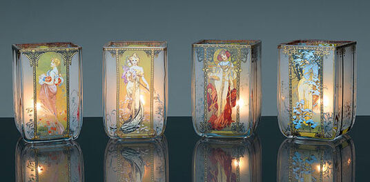 "Alphonse Mucha: Art Nouveau tea candles ""Four seasons"", glass"