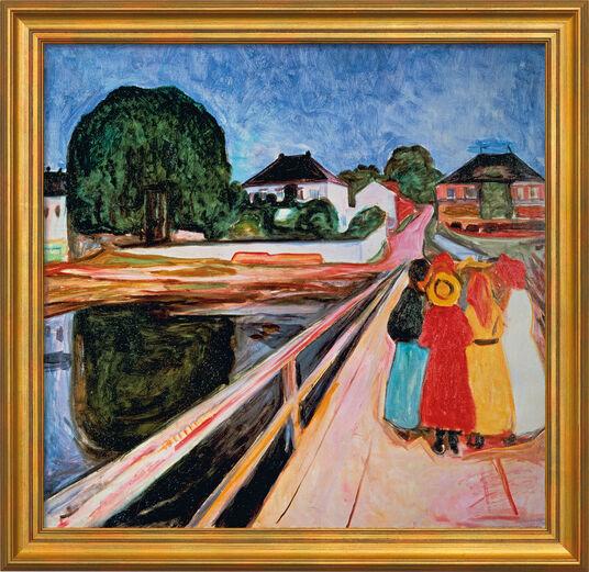 """Edvard Munch: Bild """"Mädchengruppe auf einer Brücke"""" (1902), gerahmt"""