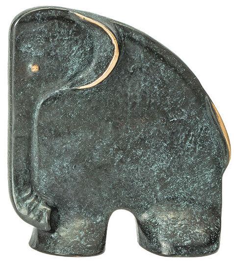 """Raimund Schmelter: Skulptur / Buchstütze """"Elefant"""", Bronze"""