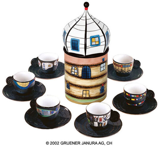 "Friedensreich Hundertwasser: The Espresso Cup Collector's Edition with Porcelain Object ""Sediment Tower"""