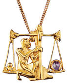 "Ancient Egyptian zodiac sign of ""Libra"" (24.9.-23.10.) Necklace with a lucky stone"