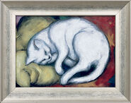"""Picture """"The White Cat"""" (Tomcat on a yellow cushion), 1912"""