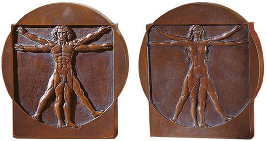 """Leonardo da Vinci: """"Schema delle Proporzioni"""", Standing Reliefs """"Man"""" and """"Woman"""""""