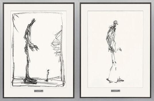"""Alberto Giacometti: 2 Bilder """"Dessin I (Groß und Klein) + II (Schreitender Mann)"""" im Set"""