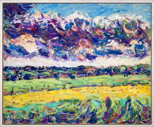 """Theodor Gerkens: Bild """"Wolken und Wiesen"""" (1984) (Unikat)"""