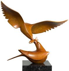 """Skulptur """"Zwei Möwen mit Fisch Nr. 1"""", Bronze braun"""