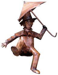 "Sculpture roof climber ""Pan Tau"", copper"