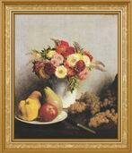 "Picture ""Fleurs et fruits - Flowers and fruit"" (1865) in frame"