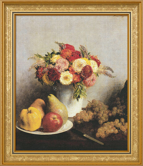 "Henri Fantin-Latour: Picture ""Fleurs et fruits - Flowers and fruit"" (1865) in frame"