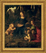 "Picture ""Madonna of the Rocks"" (1483-1486) in museum frame"