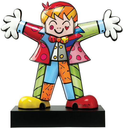 "Romero Britto: Porcelain sculpture ""Hug Too"", hand-painted"