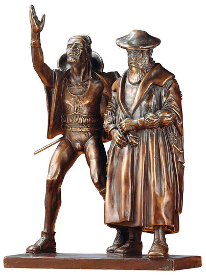"Mathieu Molitor: Sculpture group ""Faust and Mephisto"", polymer bronze reduction"