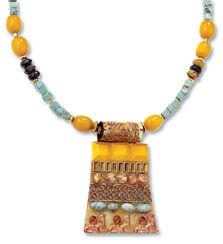 Precious stone necklace 'Sun Sphinx'