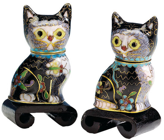 Cloisonné- two cats