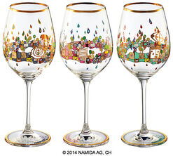 "Three-piece set of wine glasses ""BEAUTY IS A PANACEA - Gold - red wine"""