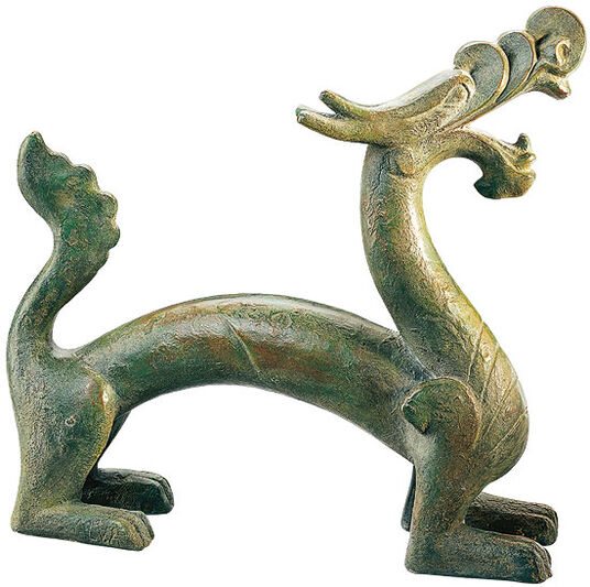 Sculpture 'Chinese Han Dragon', cold cast bronze