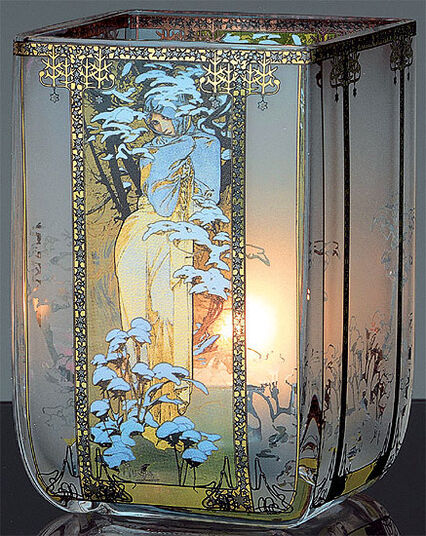 "Alphonse Mucha: Art Nouveau tea candle ""Winter"", glass"