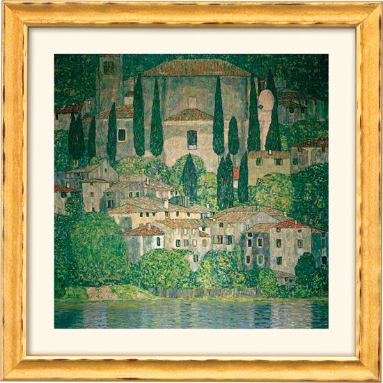 "Painting ""Church in Cassone on Garda Lake"" (1913) with frame"