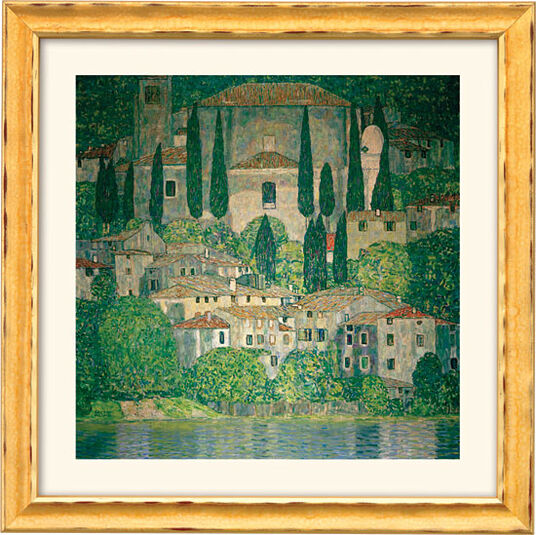"Gustav Klimt: Painting ""Church in Cassone on Garda Lake"" (1913) with frame"