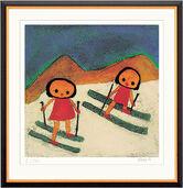 """Bild """"Kinder im Schnee"""" (2002), gerahmt"""