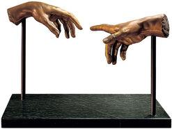 "Skulptur ""Die Erschaffung des Adam"", Kunstbronze"