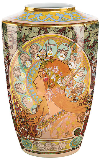 "Alphonse Mucha: Porzellanvase ""Zodiac"" mit Goldelementen"