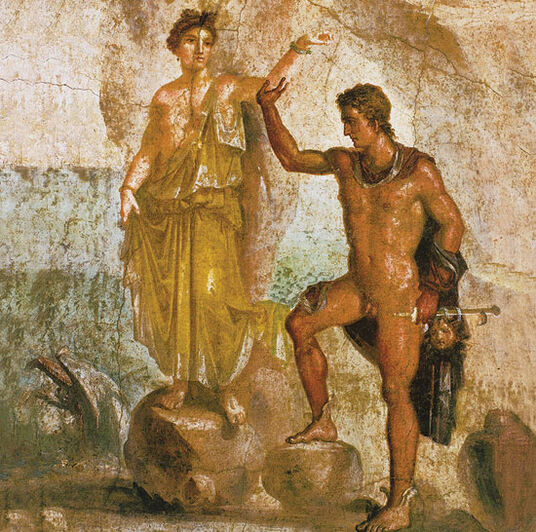"Mural painting from Pompeii: Painting ""Perseus und Andromeda"""
