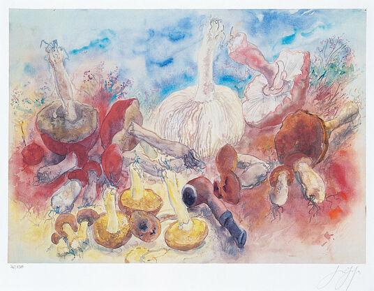 """Günter Grass: Bild """"Pilze und meine Pfeife"""", ungerahmt"""