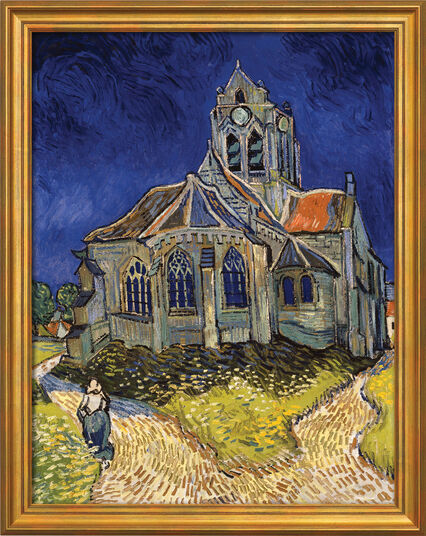 "Vincent van Gogh: Painting ""Church in Auvers-sur-Oise"" (1890) in a frame"