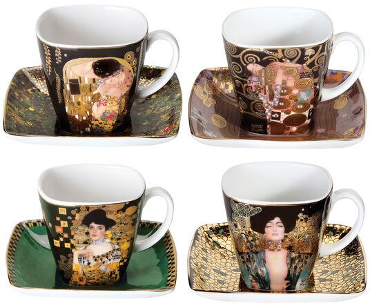 Gustav Klimt: 4er-Set Espressotassen mit Künstlermotiven