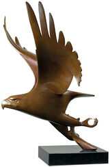 "Sculpture ""Bird of Prey with Fish Nr. 1"", Brown Bronze"