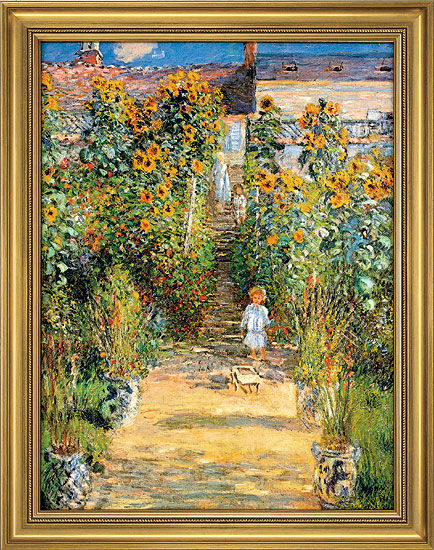 """Painting """"Monet's Garden at Vetheuil"""" in a classic frame"""