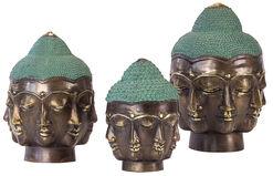 """Buddha-Köpfe """"Die sieben Gesichter"""" im 3er-Set, Bronze Antikfinish"""