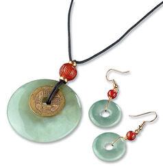 Chinese Jade jewellery Set