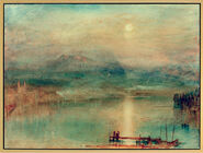 "Painting ""Moonlight over the Vierwaldstatter Lake"" (about 1841-44), framed"