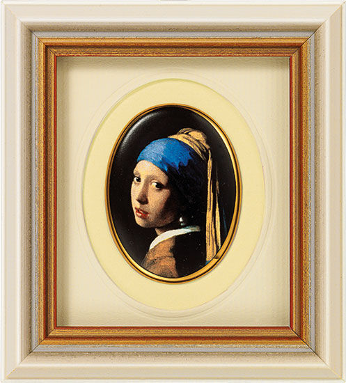 Miniature porcelain painting 'Girl with a Pearl Earring', 1665