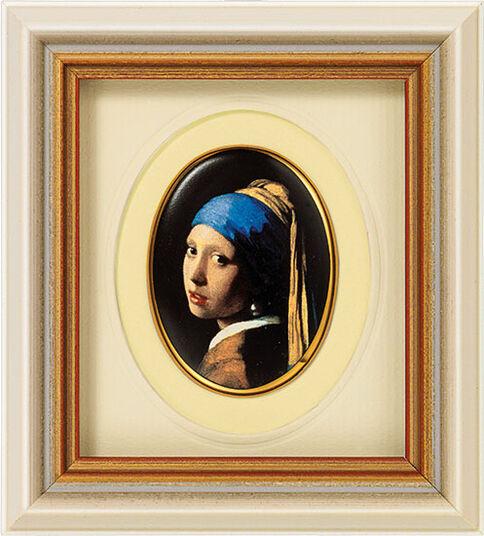 "Jan Vermeer van Delft: Miniatur-Porzellanbild ""Das Mädchen mit dem Perlenohrring"" (1665), gerahmt"