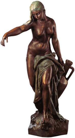"Gustav Eberlein: Sculpture ""Rebecca carrying water "" (1897), Bronze art edition"