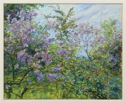 "Max Slevogt: Painting ""Blooming  Lilac"" (ca. 1921) in a gallery frame"