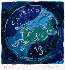 "Painting ""Zodiac Sign Capricorn"" (1996), framed"